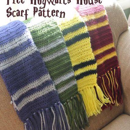 crochet pattern for harry potter hogwarts house scarves