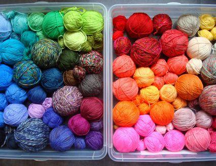 Colorful yarn balls