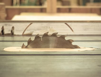 table saw close up construction power tool