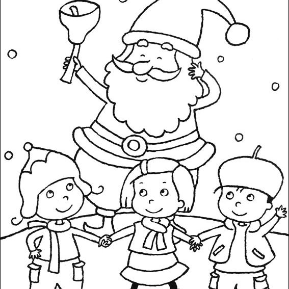 Coloring Book's Free Christmas Coloring Pages. Santa Claus with children.