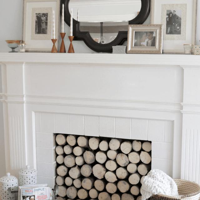 DIY Faux Fireplace Log Stack