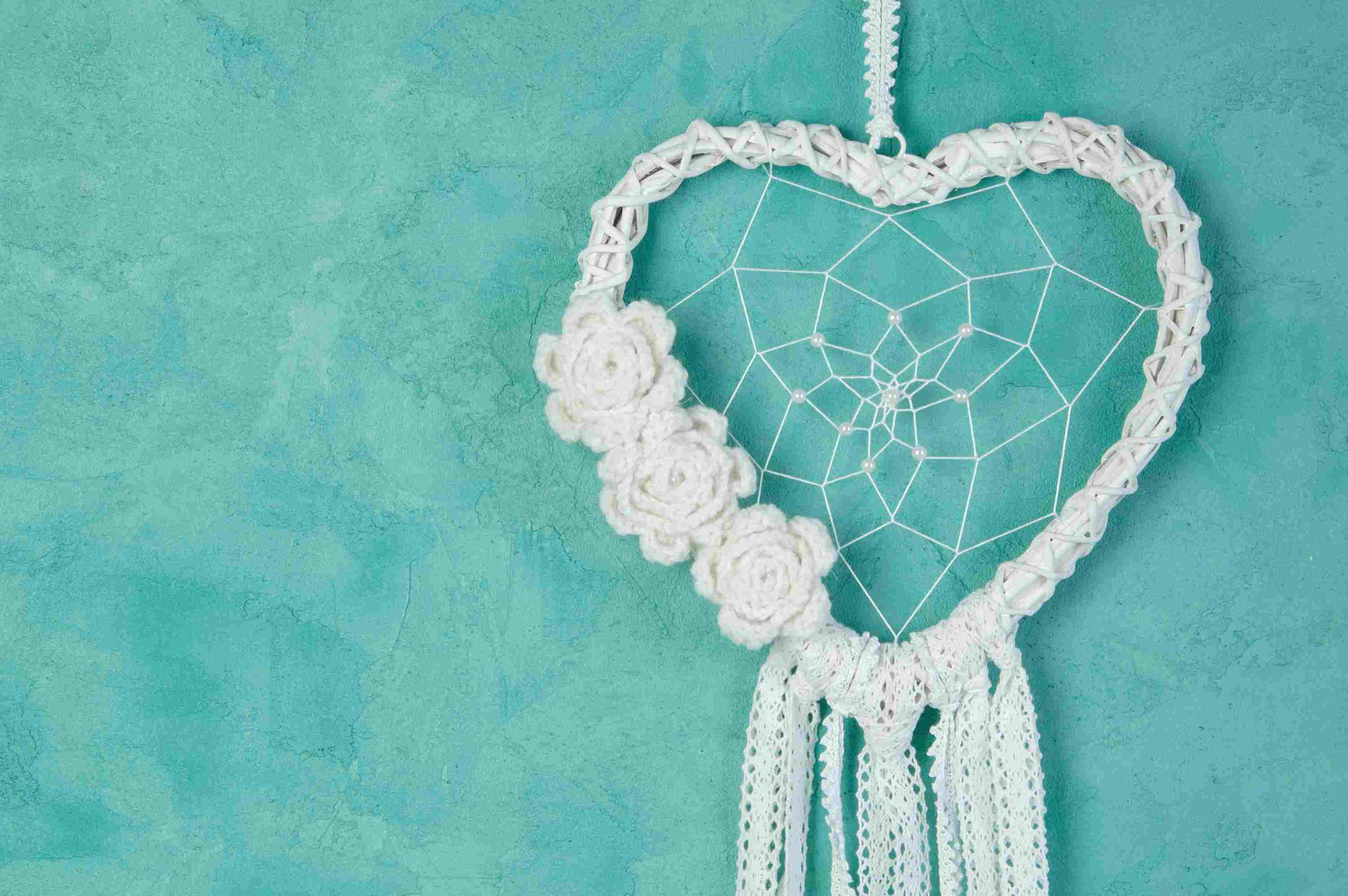 Crochet Heart Wreath with Roses