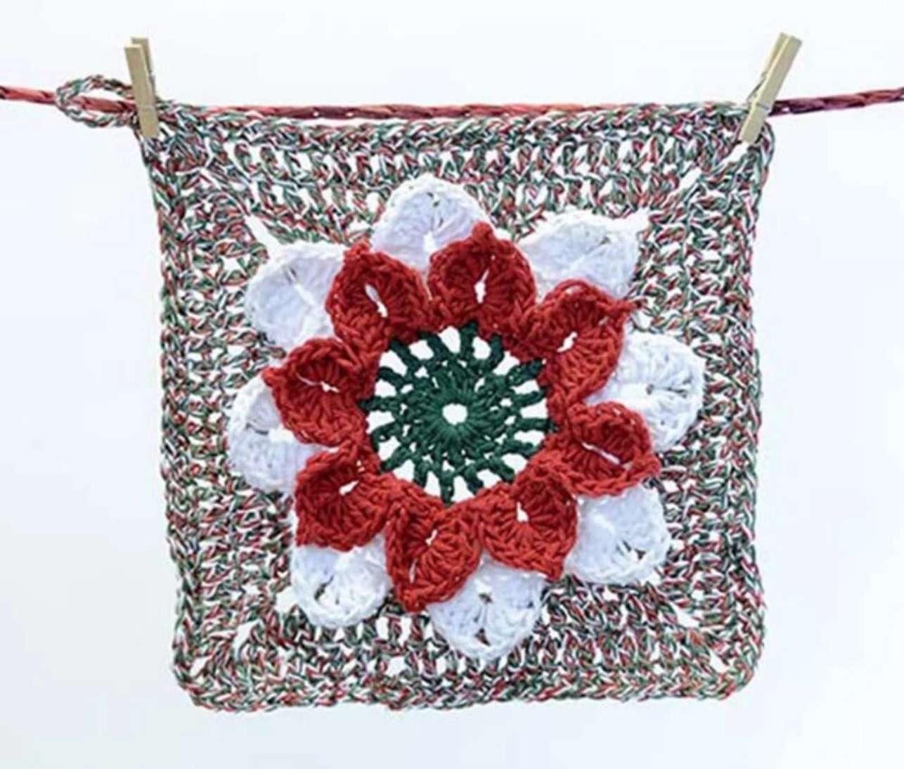 Dimensional Poinsettia Washcloth Pattern