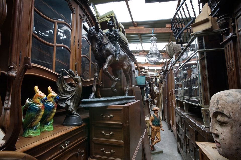 antiques in a narrow corner in a store