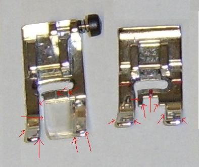 A photo which points out the many guides available on presser feet.