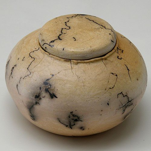 This pottery jar is decorated using the horse hair technique.