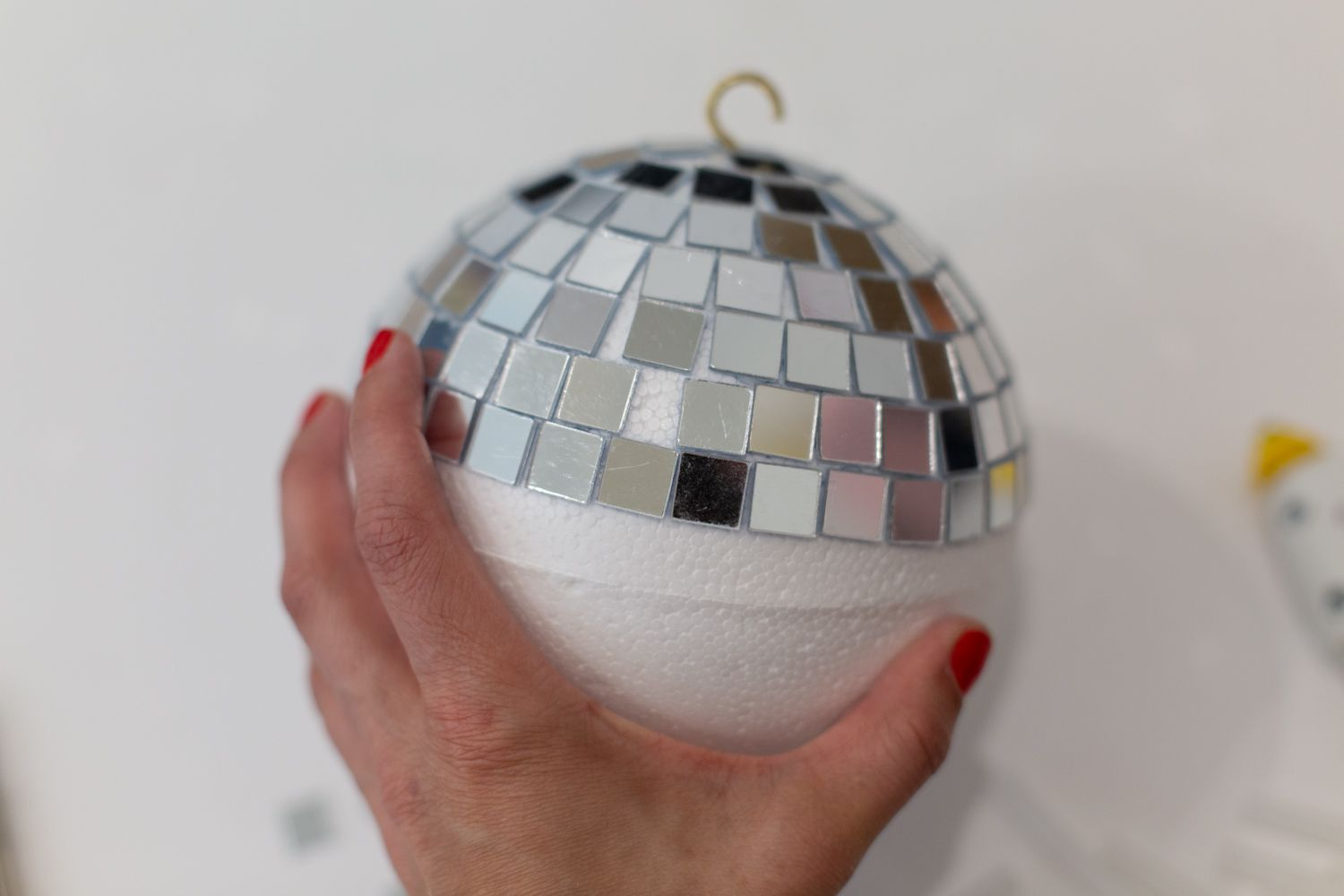 DIY disco ball with mirrored rows