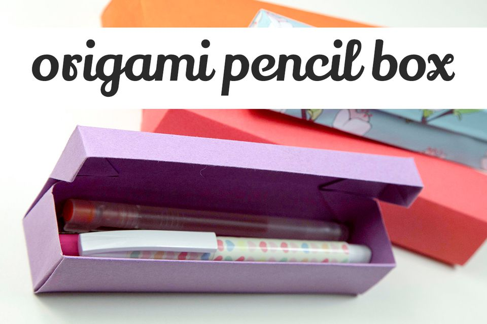 Finished origami pencil box