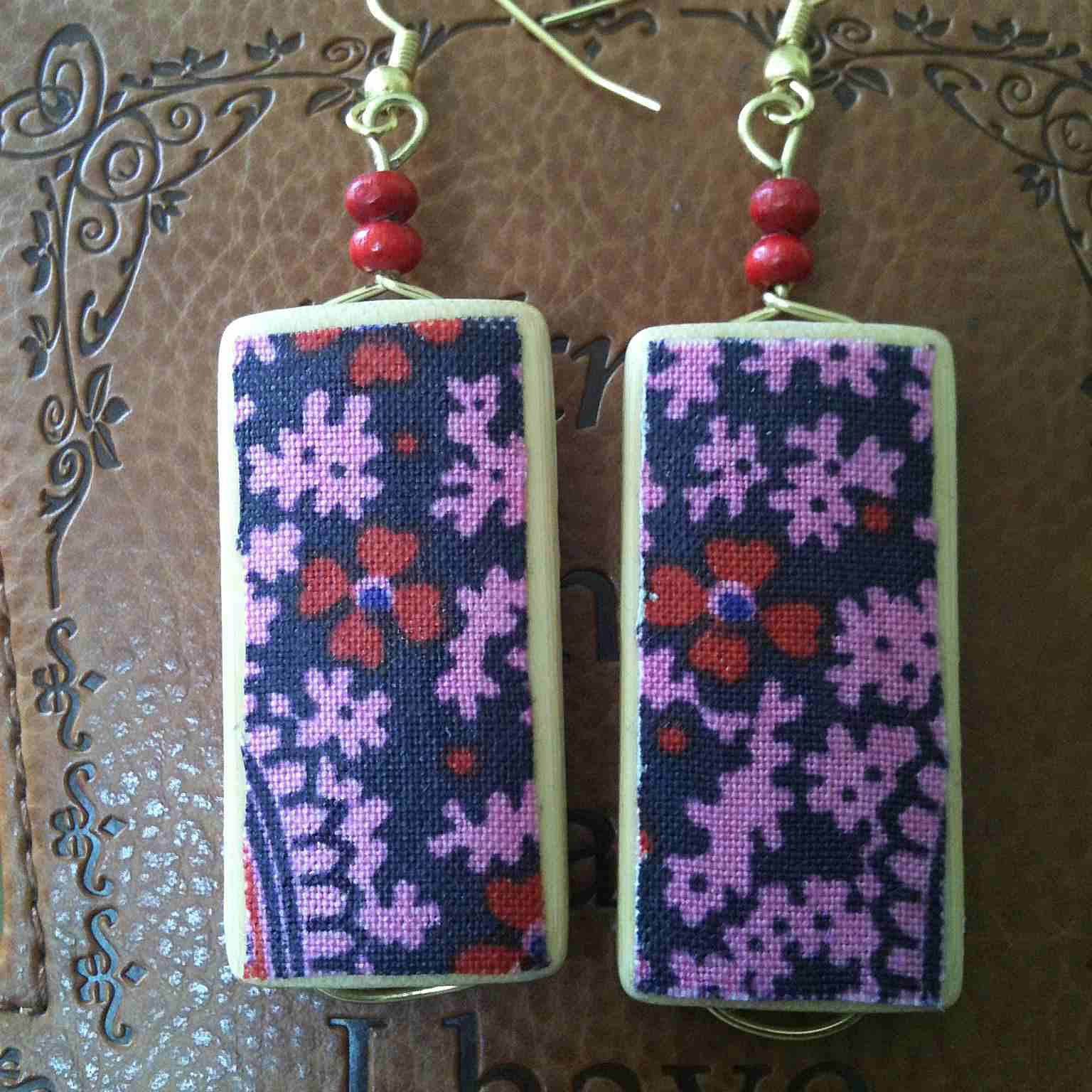 Liberty Fabric Bamboo Wood Earrings