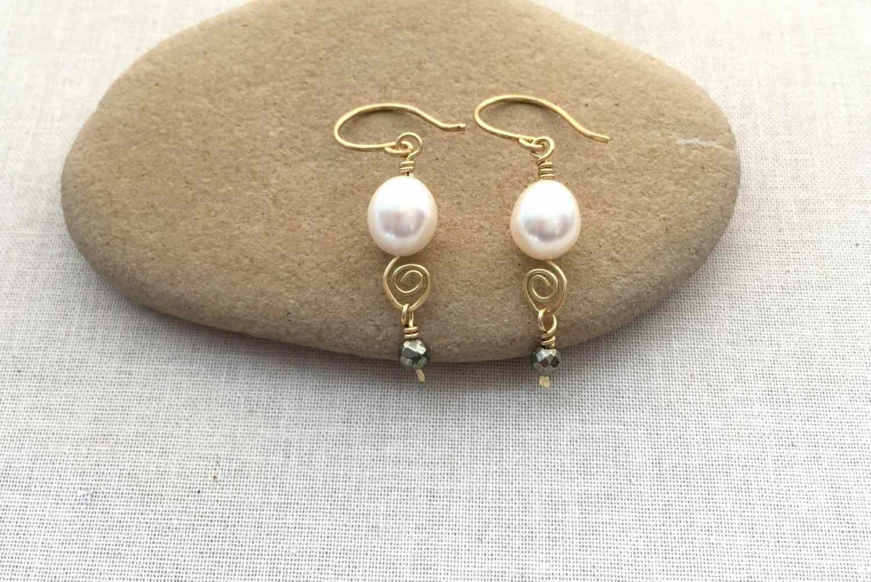 Pearl beads on handmade Spiral Headpins