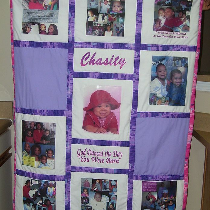 Baby blanket with photos and name Chasity.