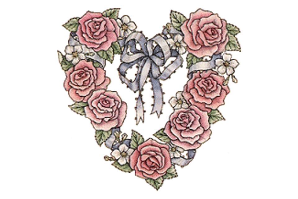 Screenshot of heart clip art made up of roses