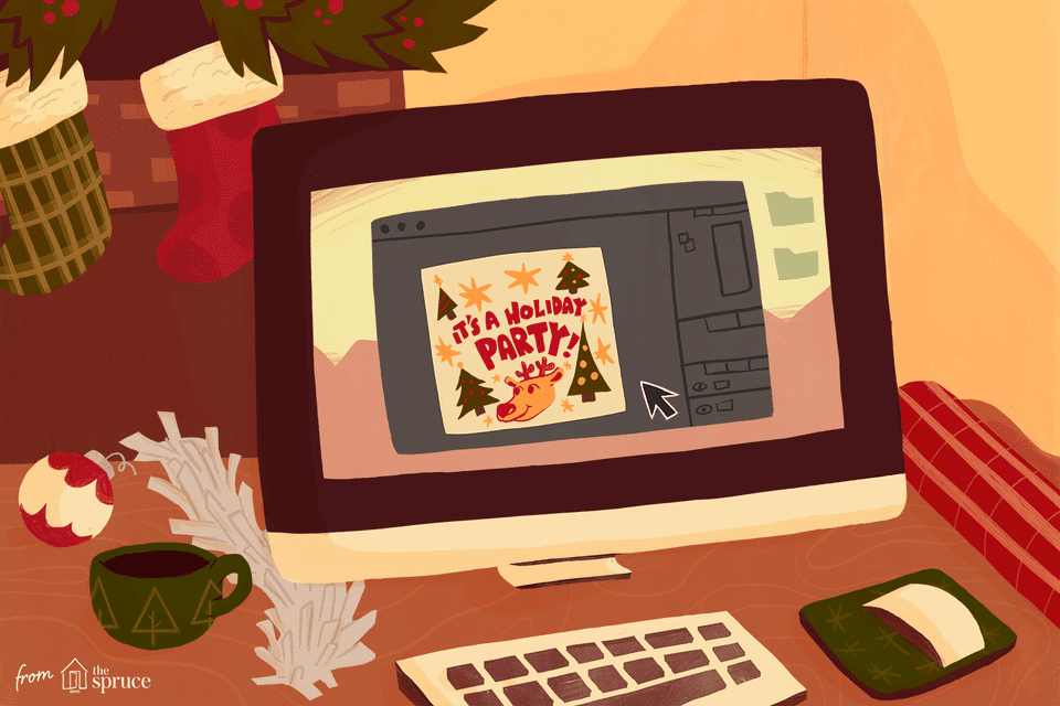 "An illustration of a computer screen with an e-card that says ""It's a holiday party!"""