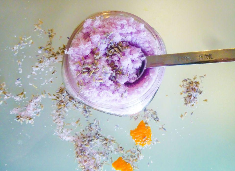 purple homemade bath salt with scooper