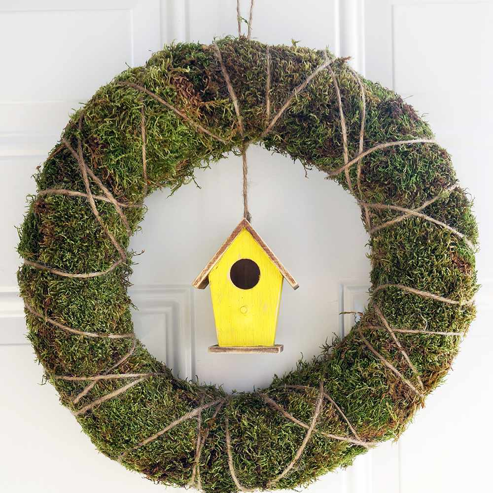 DIY Moss Covered Birdhouse Wreath