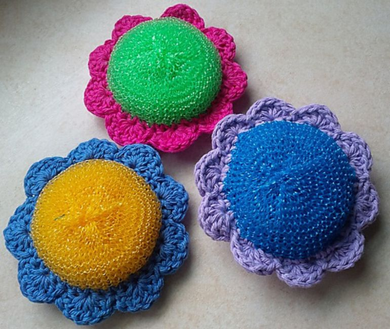 Crochet Flower Scrubbie Free Pattern