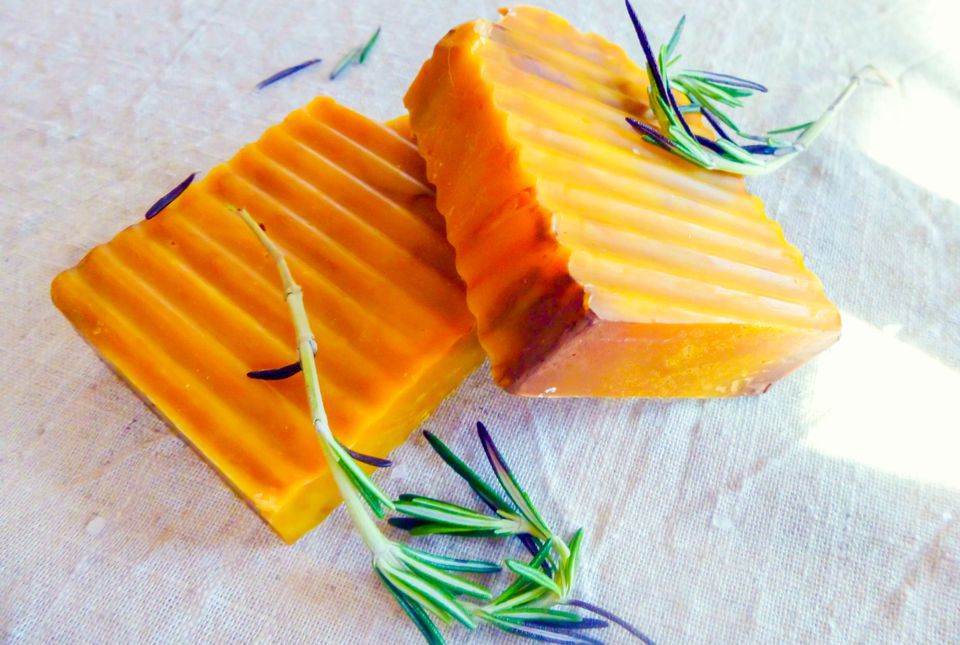 homemade soap with grooves