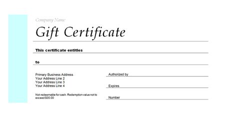 a gift certificate template for a company - Full Page Gift Certificate Template