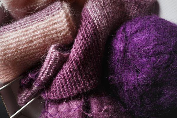 Purple and pink yarn
