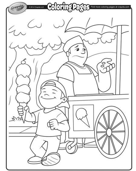 Crayolas Spring Coloring Pages A Boy Buying Ice Cream From Vendor