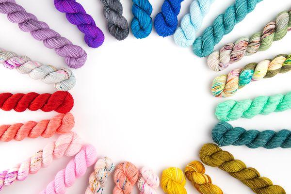 Hanks of rainbow yarn