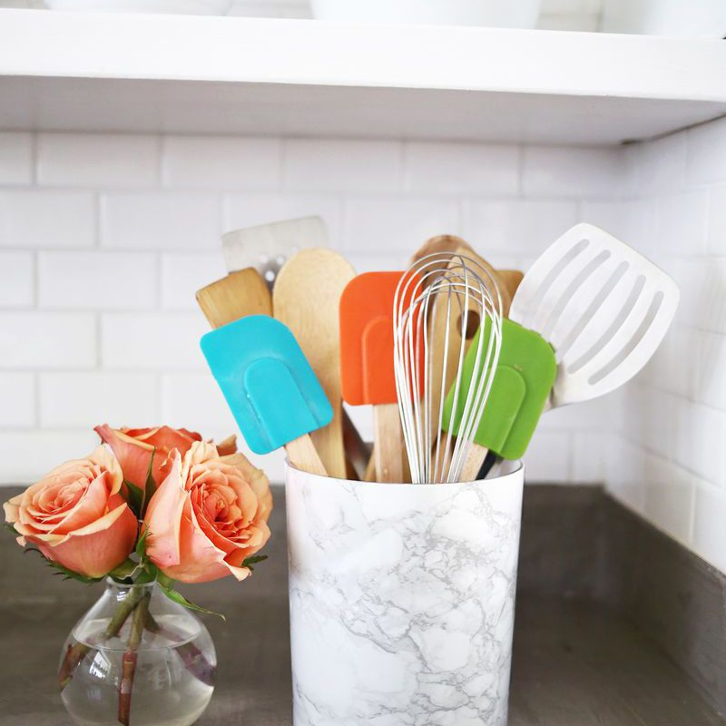 DIY Marble Kitchen Utensil Holder