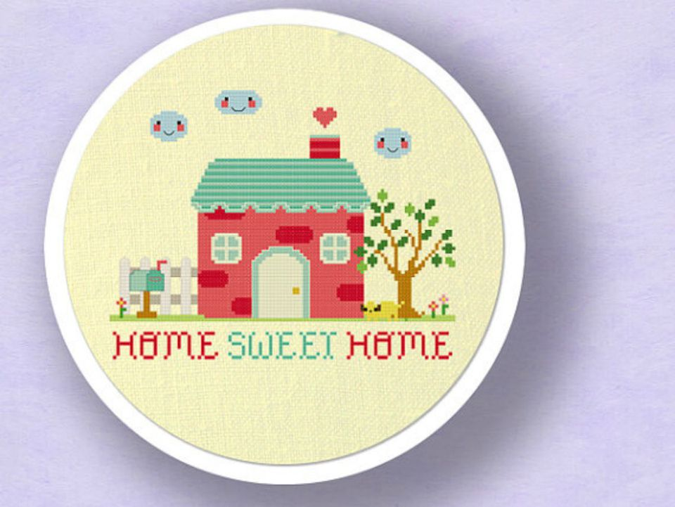 knitted home sweet home plaque
