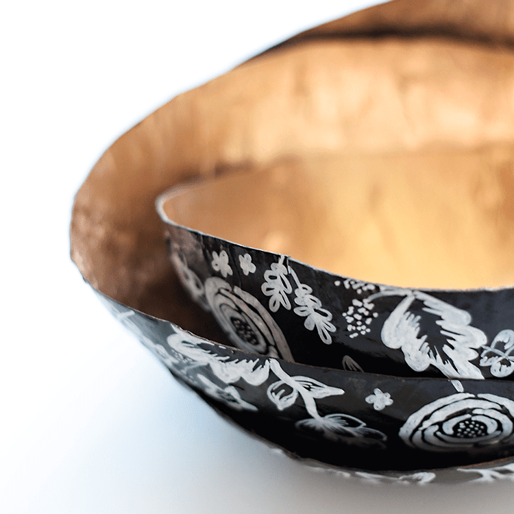 paper mache bowls lined with gold