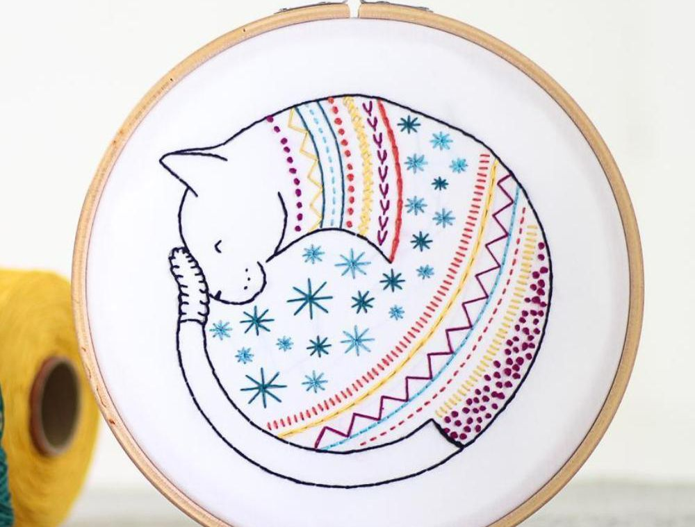 Choose From 15 Cat Embroidery Patterns and Stitch a Furry Friend