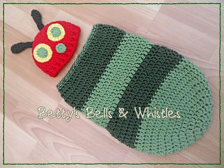 5cf7d01abed Caterpillar cocoon crochet pattern with hat on wood floor