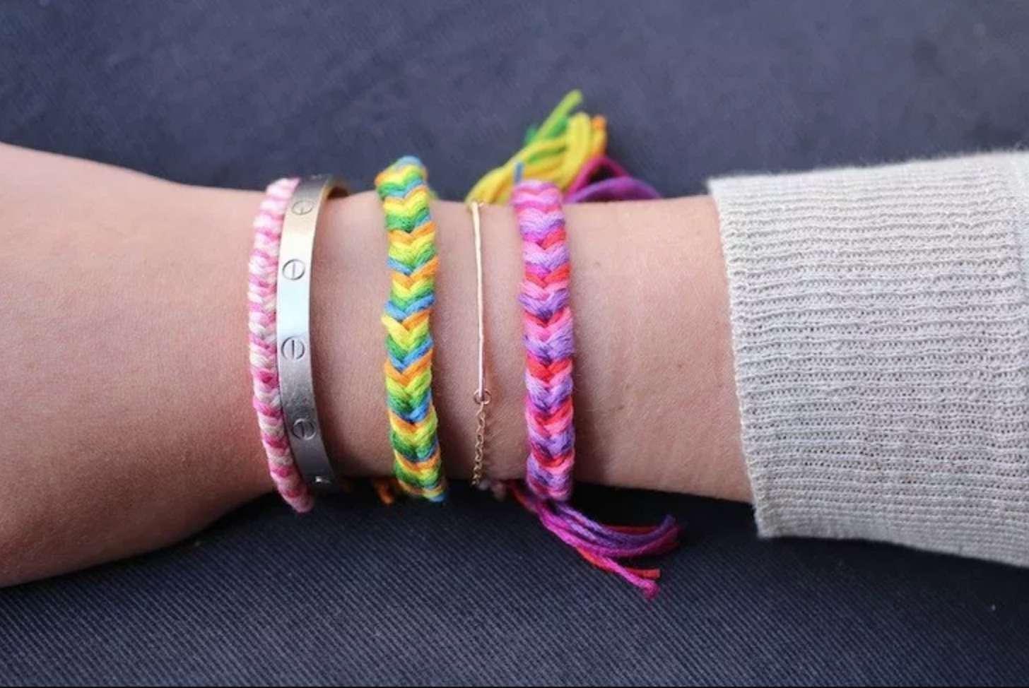 Braided Friendship Bracelet purple blue pink