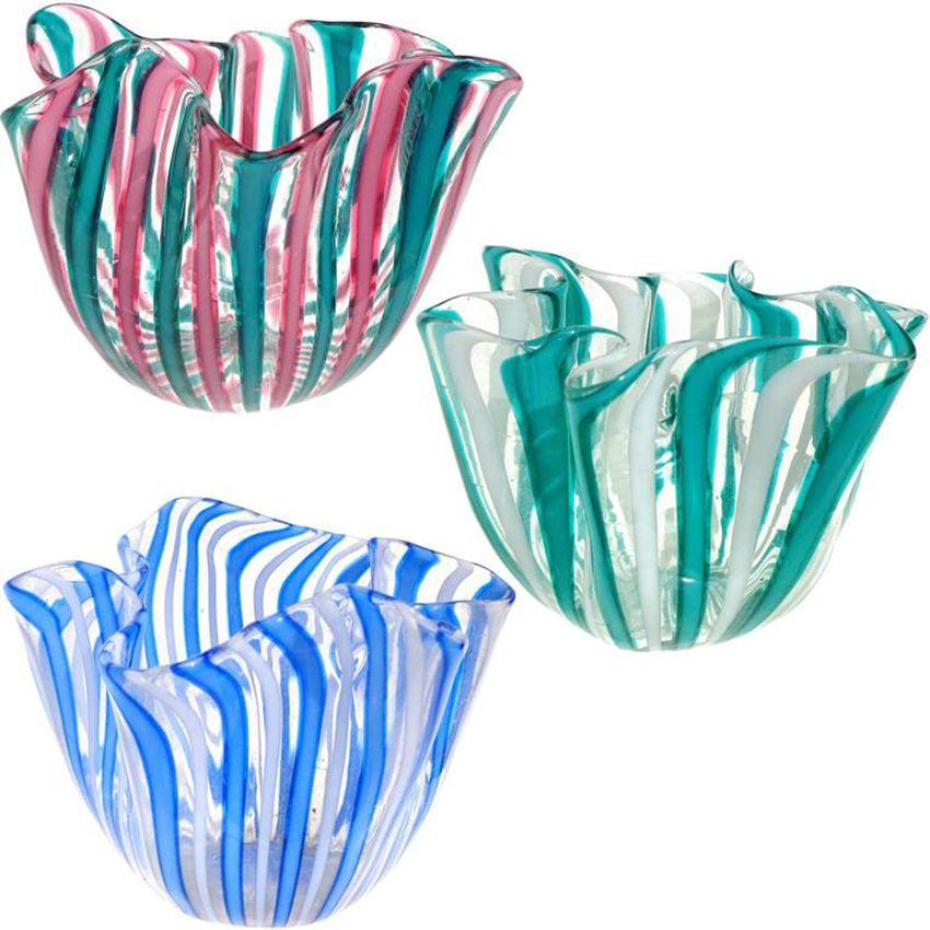 Venini Murano Filigrana Stripes Italian Art Glass Fazzoletto Vases