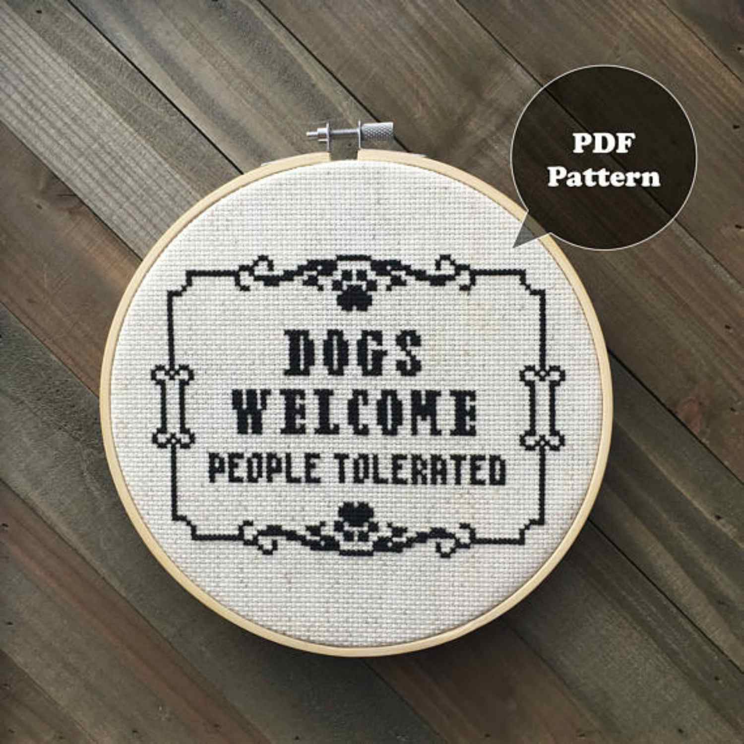 Dogs Welcome cross stitch pattern