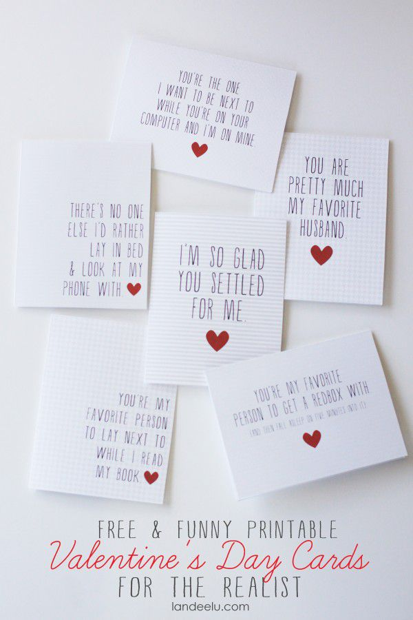 A set of white and red funny valentines.