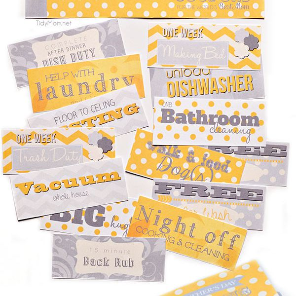 A photo of a yellow and gray Mother's Day coupon book.