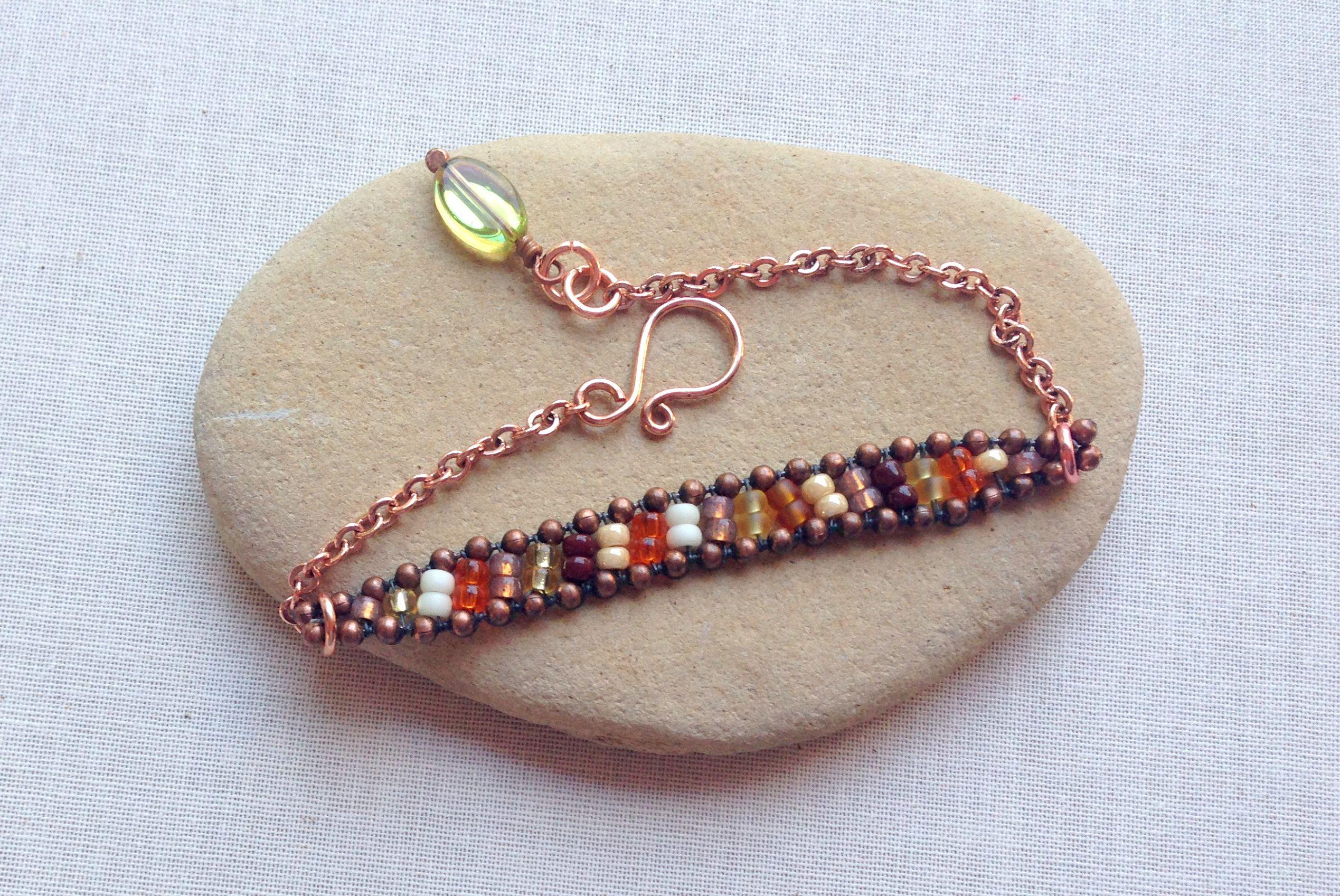 A ball chain bead weave bracelet
