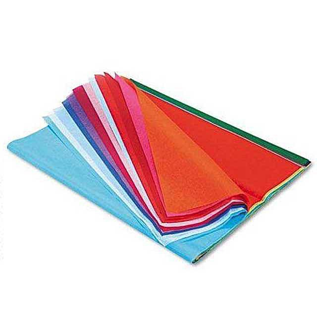 a stack of colored tissue paper
