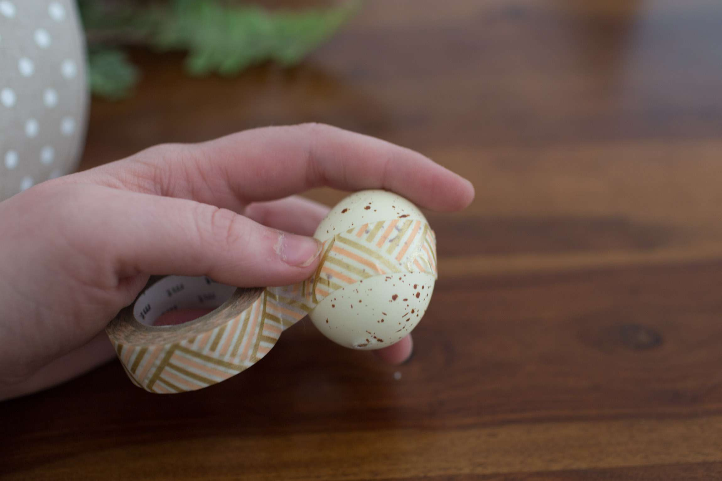 Wrapping egg with washi tape