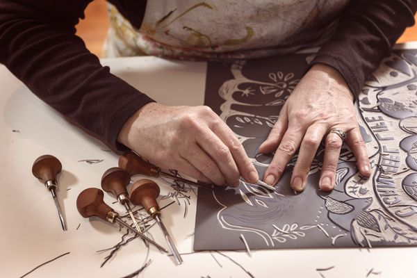 Create intricate designs by carving into lino
