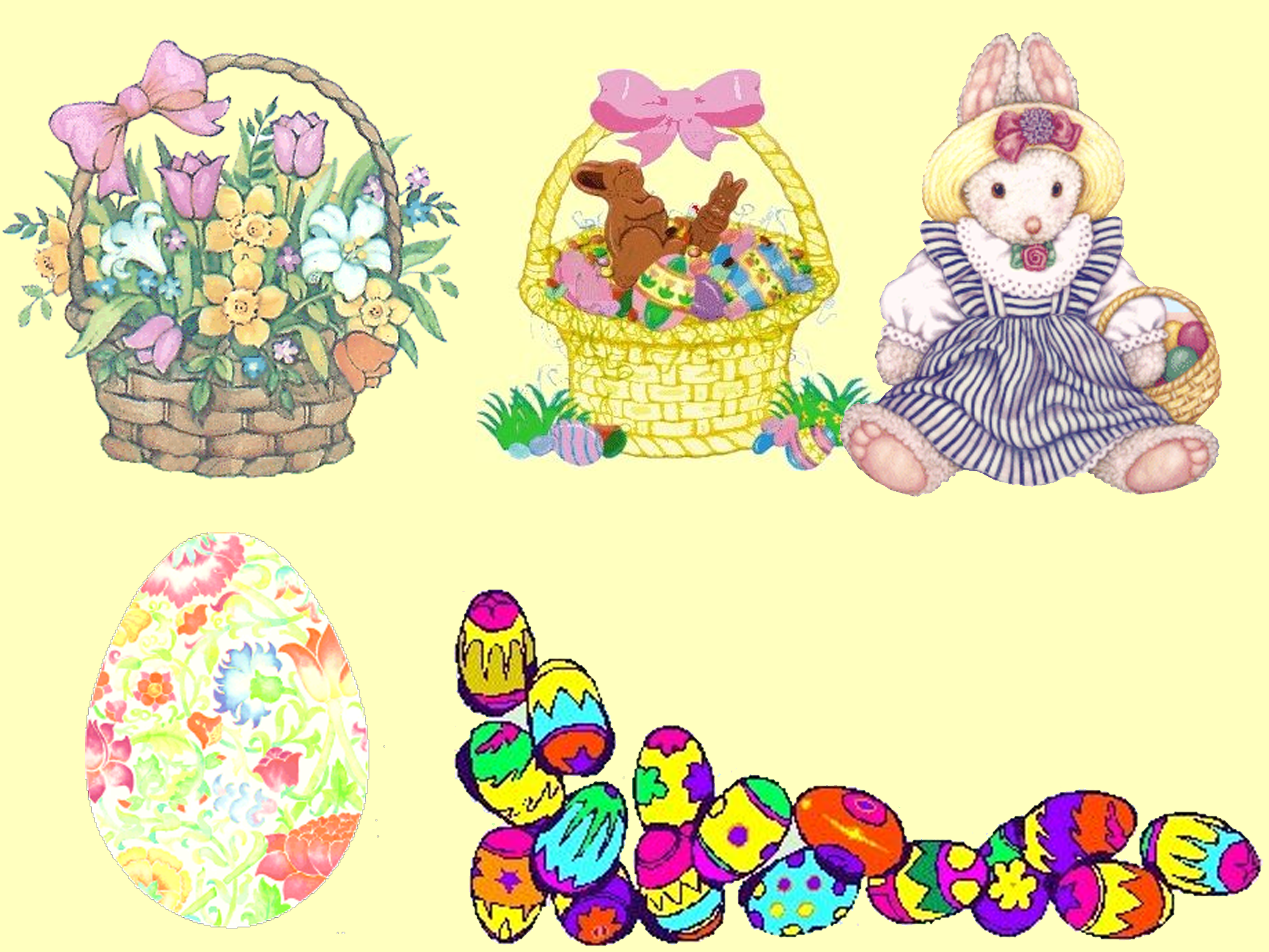 Easter clip art of baskets, bunnies, and eggs
