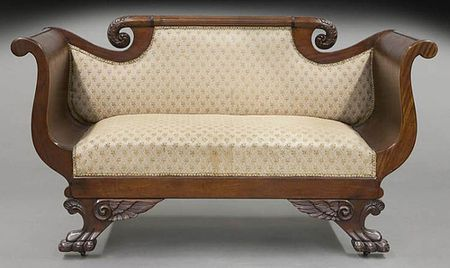 American Empire settee made of mahogany with scrolled crest & arms and  winged paw feet - Empire Style Furniture