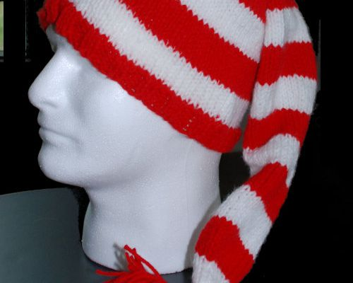 Striped stocking hat pattern on a mannequin head.