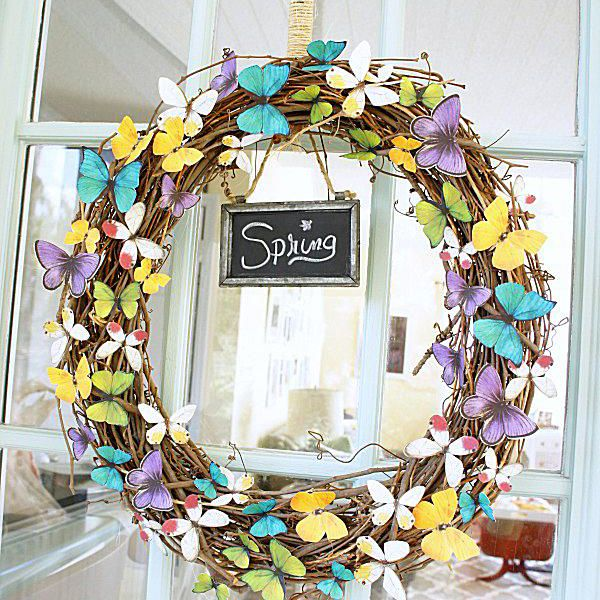 A paper butterfly wreath.