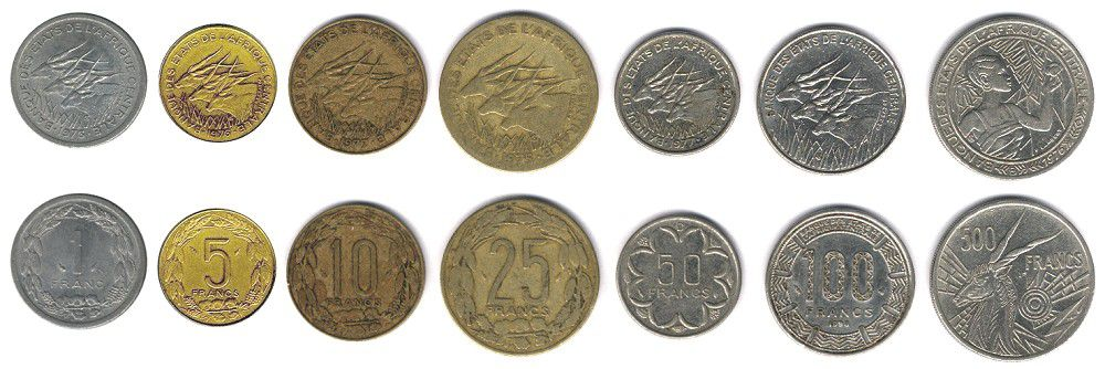 These coins are currently circulating in Central Africa as money.