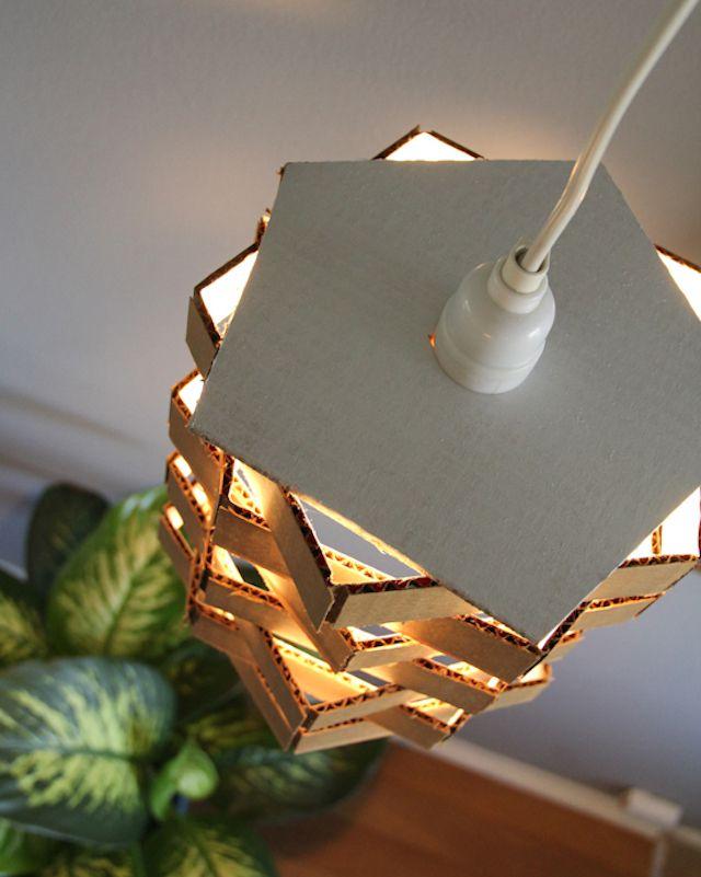 12 diy pendant light fixtures from upcycled items diy cardboard pendant light aloadofball Gallery