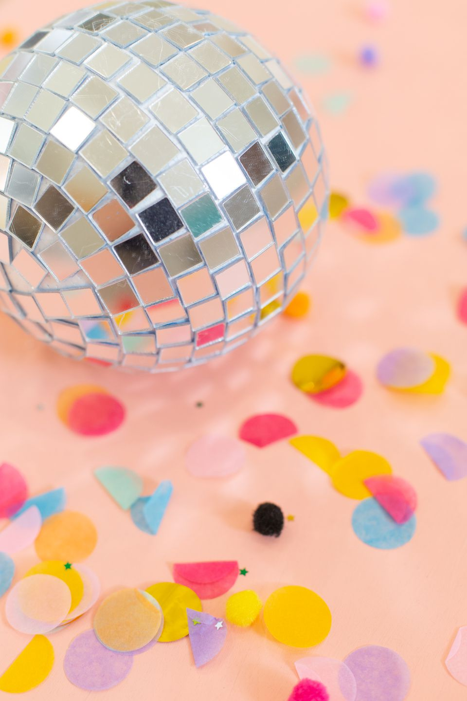 DIY disco ball with confetti