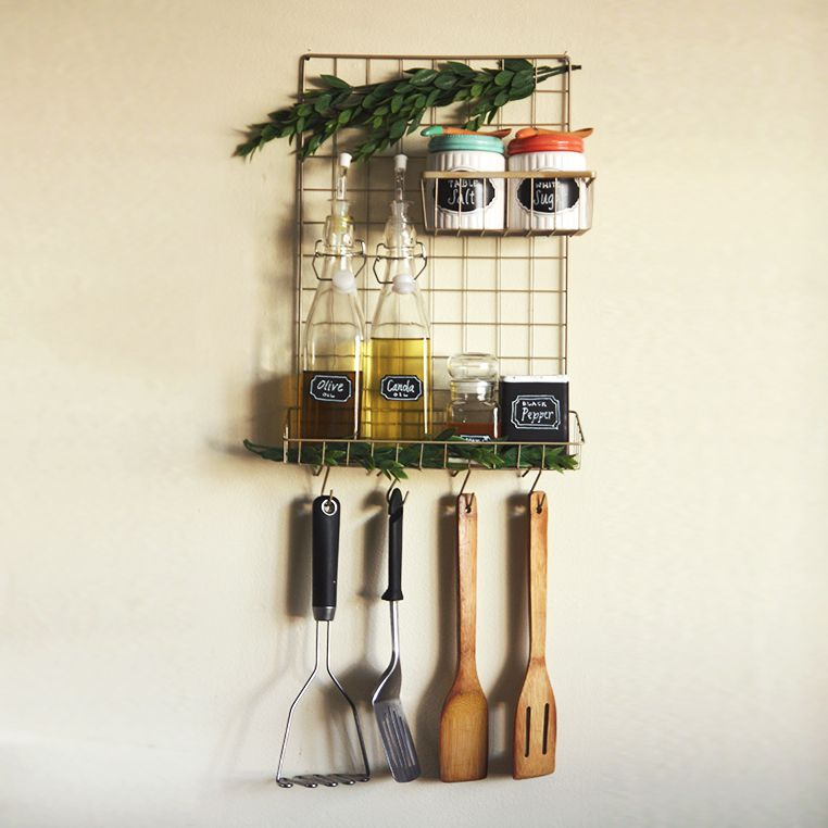 Wire wall organizer diy hanging with cooking essentials