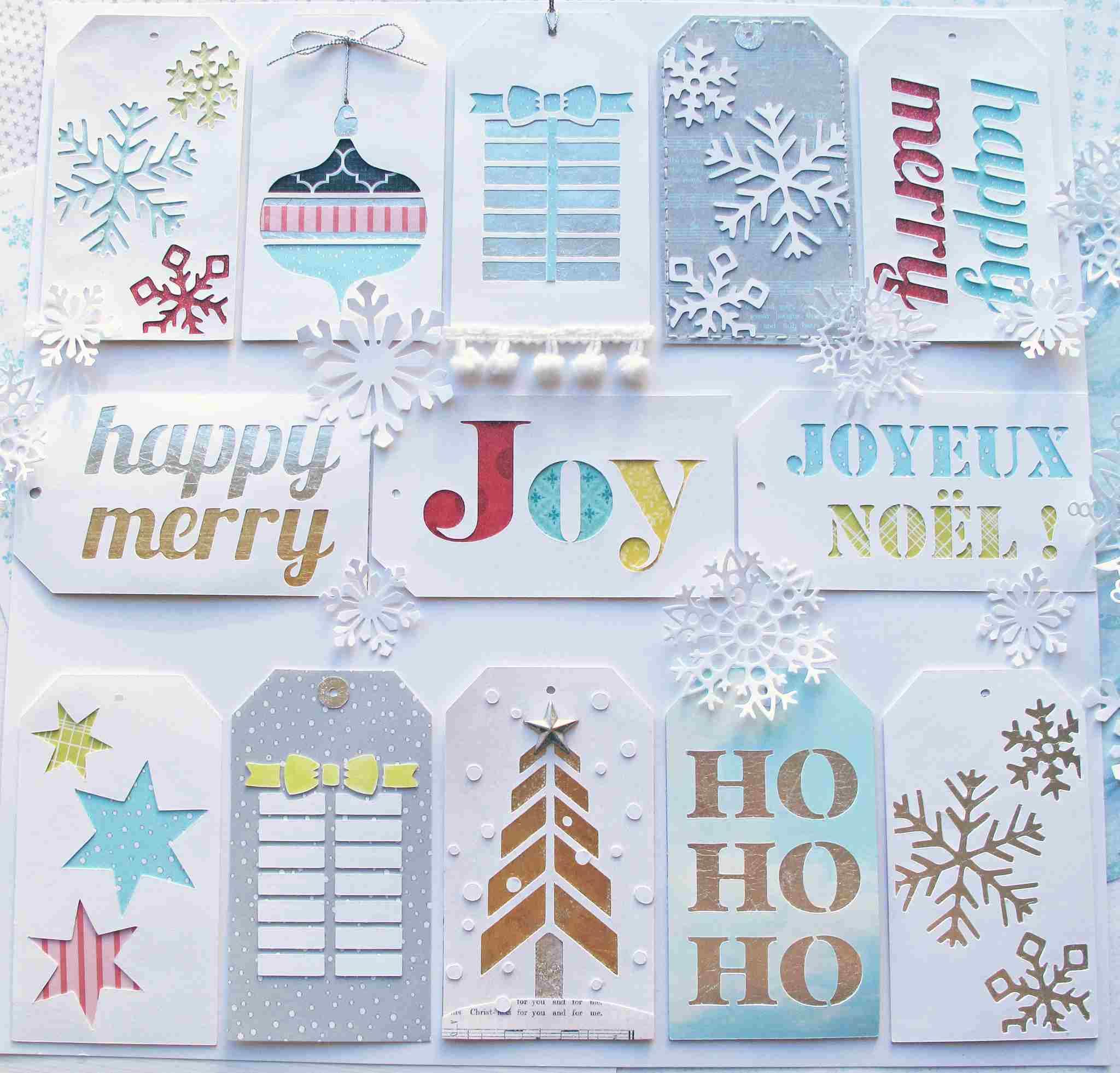 Christmas gift tags on a table