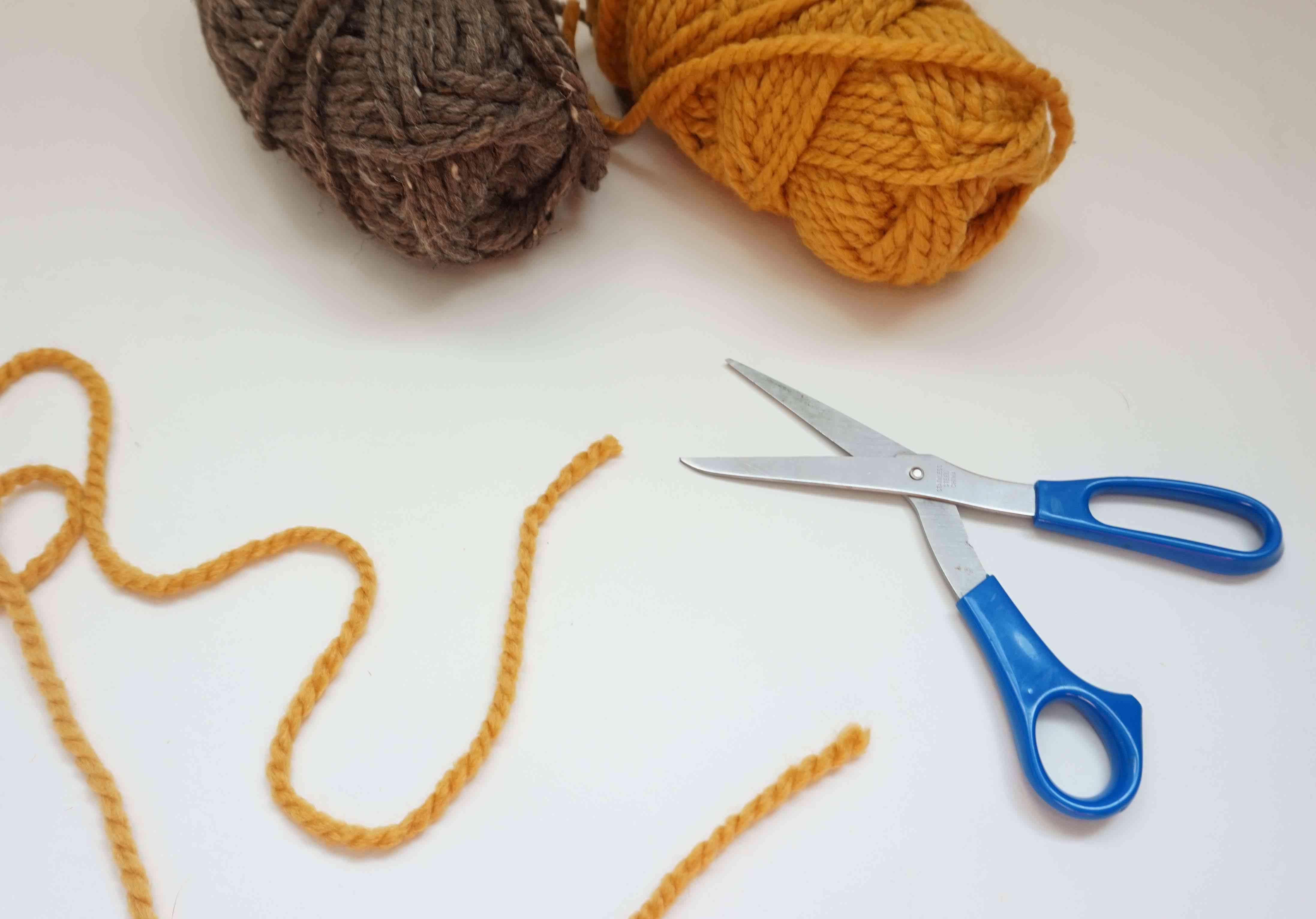 Scissors and yarn.