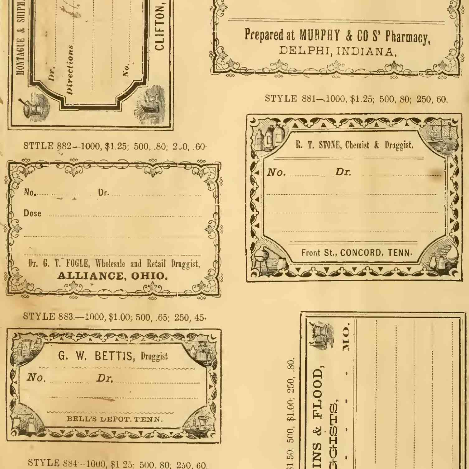 Yellowed vintage pharmacy labels